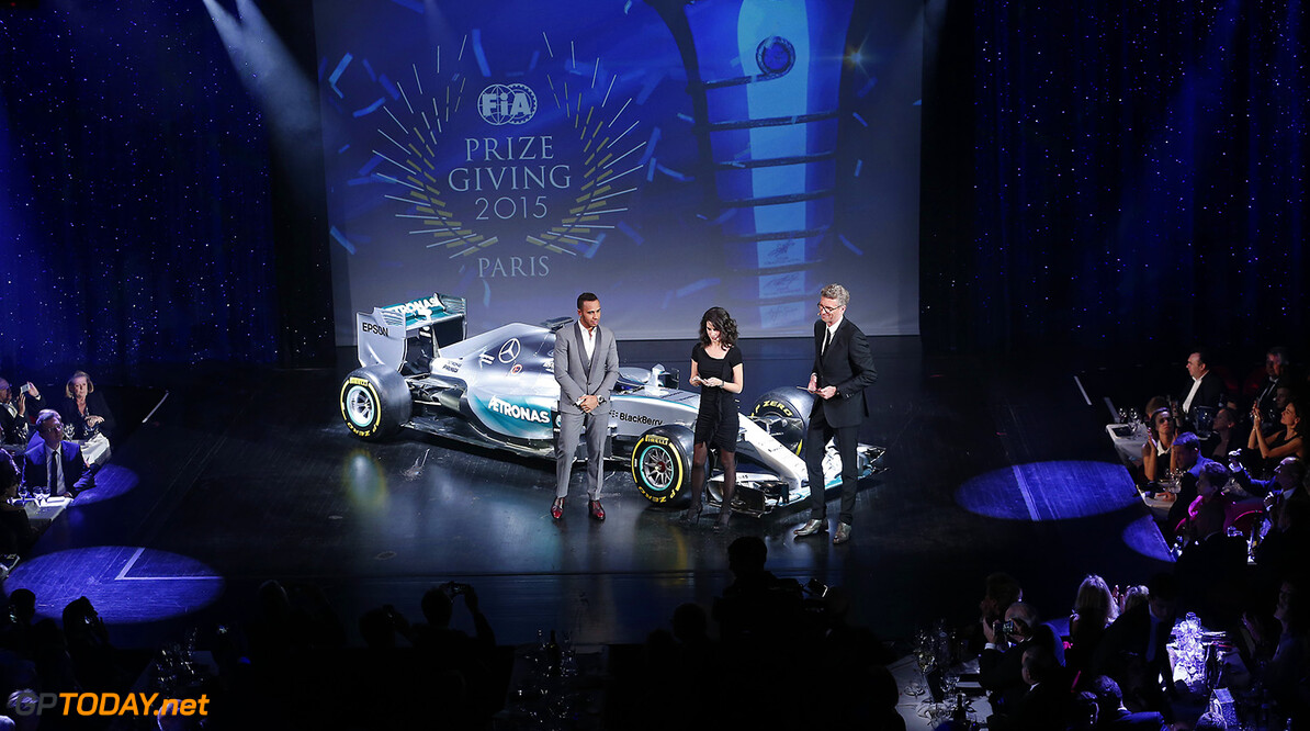 Lewis Hamilton, portrait during the FIA Prize Giving 2015 on December 4th 2015, at Paris, France. Photo Jean Michel Le Meur / DPPI AUTO - FIA PRIZE GIVING 2015 Jean Michel Le Meur  Paris France  2015 decembre december ceremonie ceremony Remise des prix awards celebration federation internationale de l'automobile international automobil federation auto
