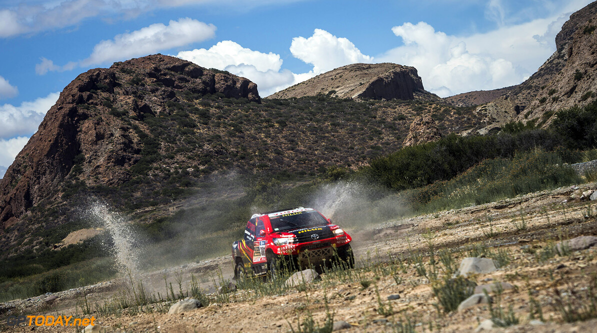 Giniel De Villiers (ZAF) of Toyota Gazoo Racing South Africa races during stage 05 of Rally Dakar 2016 from Jujuy, Argentina to Uyuni, Bolivia on January 7, 2016 // Marcelo Maragni/Red Bull Content Pool // P-20160107-00800 // Usage for editorial use only // Please go to www.redbullcontentpool.com for further information. //  Giniel de Villiers     P-20160107-00800