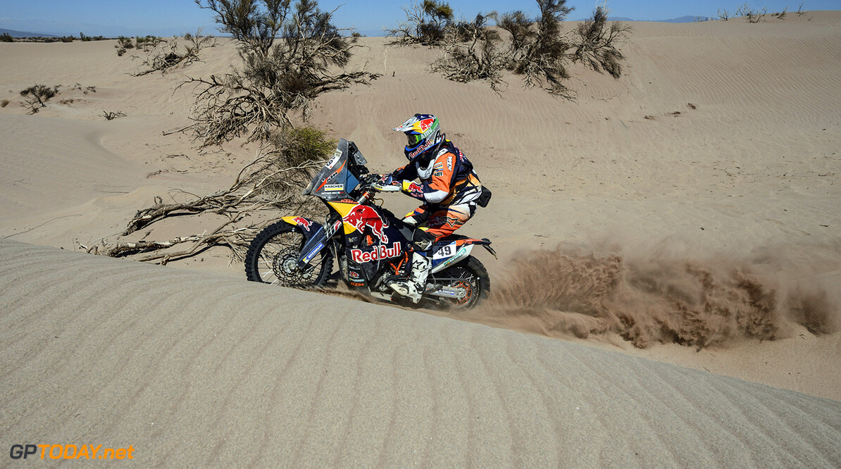 Antoine Meo (FRA) of Red Bull KTM Factory Team races during stage 09 of Rally Dakar 2016 around Belen, Argentina on January 12, 2016 // Marcelo Maragni/Red Bull Content Pool // P-20160112-00123 // Usage for editorial use only // Please go to www.redbullcontentpool.com for further information. //  Antoine Meo  Belen Argentina  P-20160112-00123