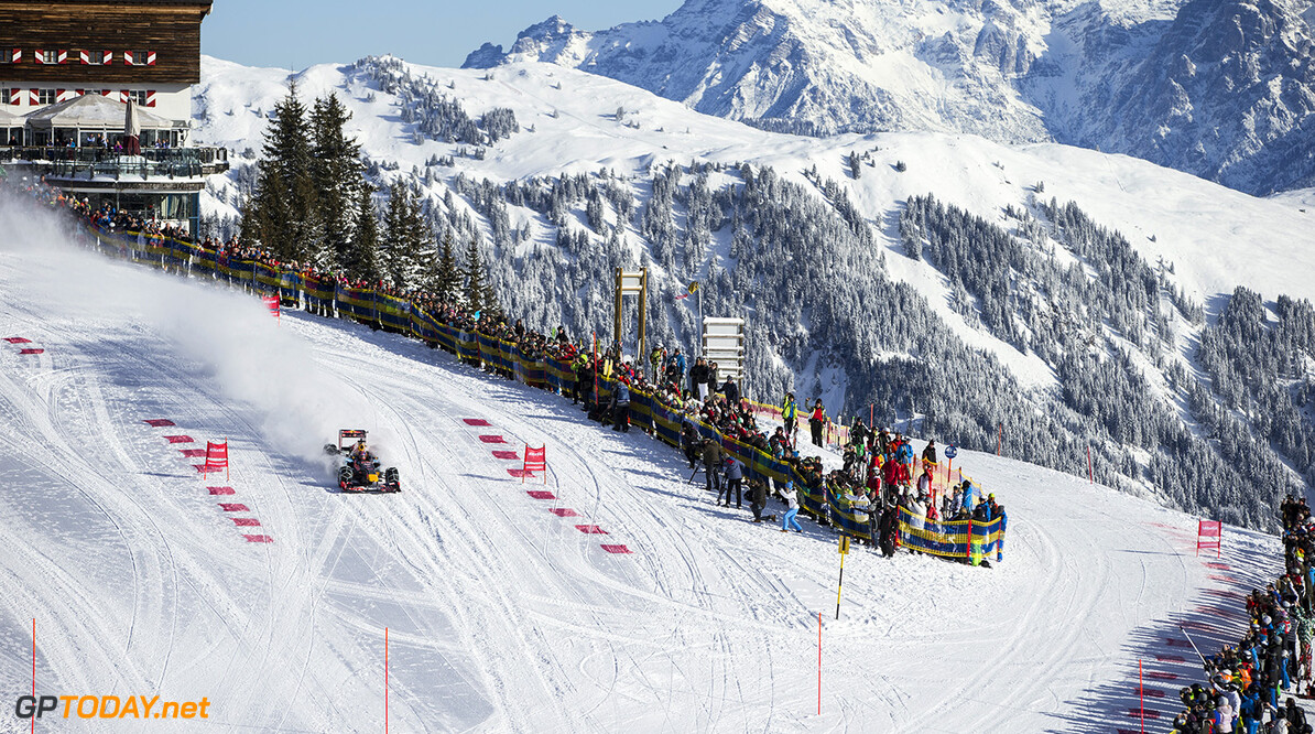 Max Verstappen performs during the F1 Showrun at the Hahnenkamm in Kitzbuehel, Austria on January 14, 2015 // Samo Vidic/Red Bull Content Pool // P-20160114-00329 // Usage for editorial use only // Please go to www.redbullcontentpool.com for further information. //  Max Verstappen  Kitzb?hel Austria  P-20160114-00329