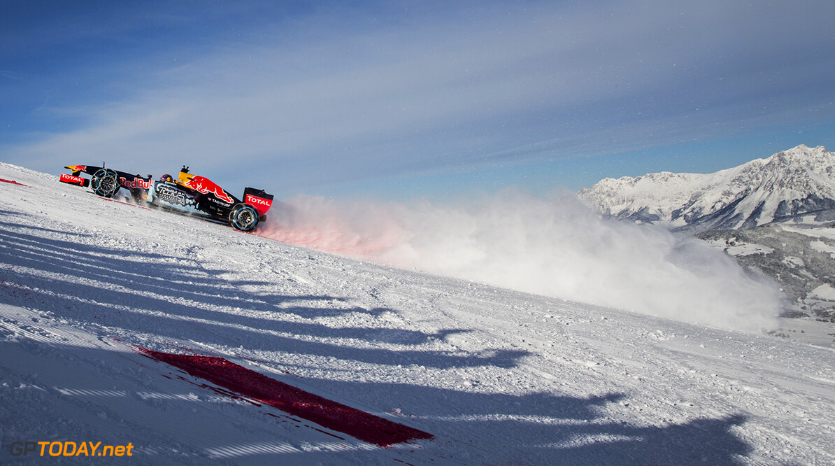 Max Verstappen performs during the F1 Showrun at the Hahnenkamm in Kitzbuehel, Austria on January 14, 2015 // Samo Vidic/Red Bull Content Pool // P-20160114-00319 // Usage for editorial use only // Please go to www.redbullcontentpool.com for further information. //  Max Verstappen
