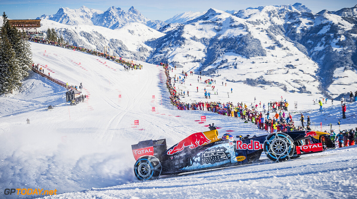 Max Verstappen performs during the F1 Showrun at the Hahnenkamm in Kitzbuehel, Austria on Jannuary 14, 2016. // Philip Platzer/Red Bull Content Pool // P-20160114-00315 // Usage for editorial use only // Please go to www.redbullcontentpool.com for further information. //  Max Verstappen Philip Platzer Kitzb?hel Austria  P-20160114-00315