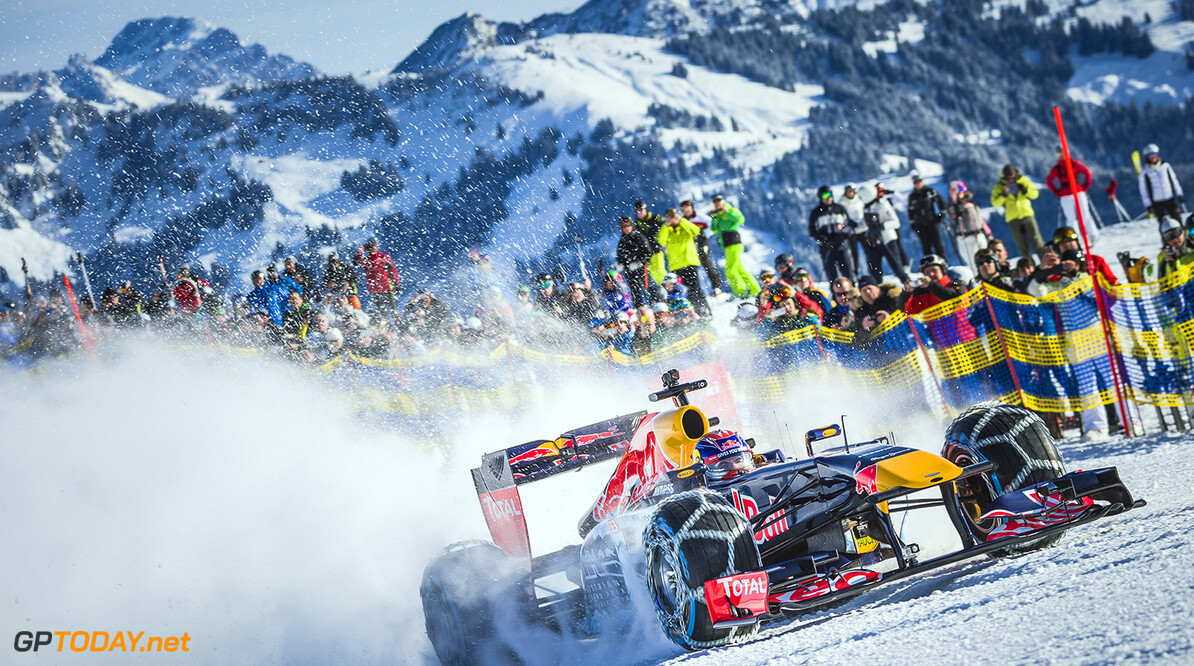 Max Verstappen performs during the F1 Showrun at the Hahnenkamm in Kitzbuehel, Austria on Jannuary 14, 2016. // Philip Platzer/Red Bull Content Pool // P-20160114-00262 // Usage for editorial use only // Please go to www.redbullcontentpool.com for further information. //  Max Verstappen Philip Platzer Kitzb?hel Austria  P-20160114-00262