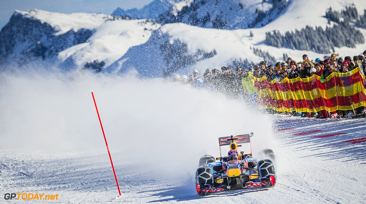 Max Verstappen performs during the F1 Showrun at the Hahnenkamm in Kitzbuehel, Austria on Jannuary 14, 2016. // Philip Platzer/Red Bull Content Pool // P-20160114-00310 // Usage for editorial use only // Please go to www.redbullcontentpool.com for further information. //  Max Verstappen Philip Platzer Kitzb?hel Austria  P-20160114-00310