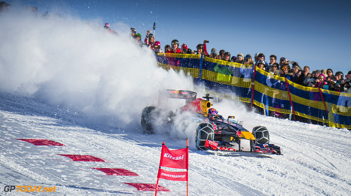 Max Verstappen performs during the F1 Showrun at the Hahnenkamm in Kitzbuehel, Austria on Jannuary 14, 2016. // Philip Platzer/Red Bull Content Pool // P-20160114-00317 // Usage for editorial use only // Please go to www.redbullcontentpool.com for further information. //  Max Verstappen Philip Platzer Kitzb?hel Austria  P-20160114-00317