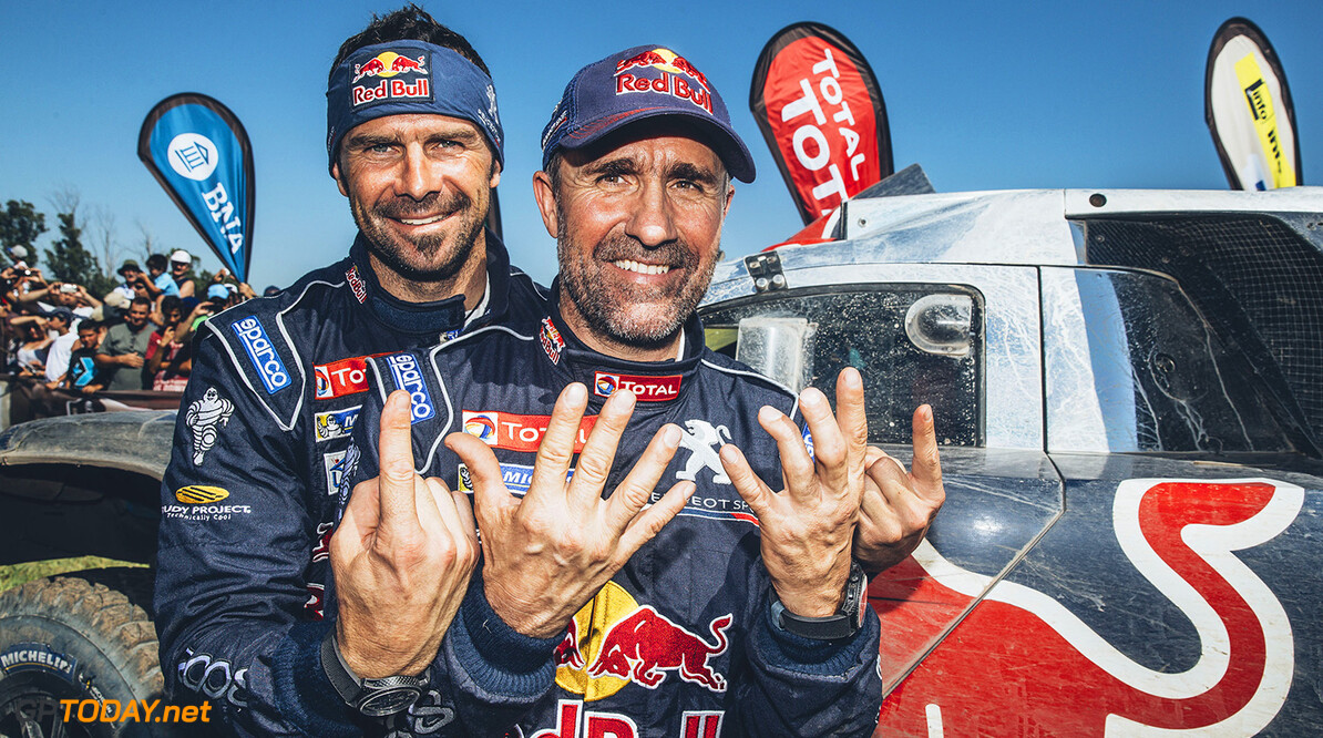 Stephane Peterhansel (FRA)  and Cyril Despres (FRA) from Team Peugeot Total at the finish line of stage 13 of Rally Dakar 2016 from Villa Carlos Paz to Rosario, Argentina on January 16, 2016. // Flavien Duhamel/Red Bull Content Pool // P-20160116-00033 // Usage for editorial use only // Please go to www.redbullcontentpool.com for further information. //  Stephane Peterhansel and Cyril Despres Flavien Duhamel
