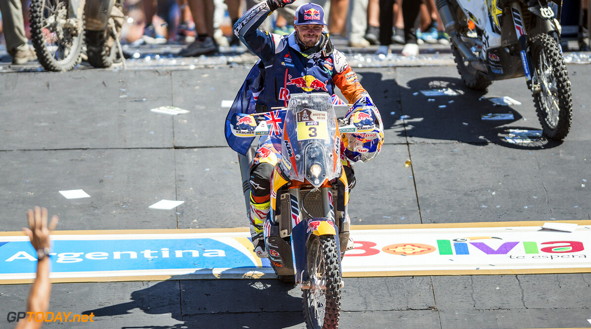 Toby Price (AUS) of Red Bull KTM Factory Team celebrates at the podium of Rally Dakar 2016 in Rosario, Argentina on January 16th, 2016 // Marcelo Maragni/Red Bull Content Pool // P-20160116-00102 // Usage for editorial use only // Please go to www.redbullcontentpool.com for further information. //  Toby Price  Rosario Argentina  P-20160116-00102