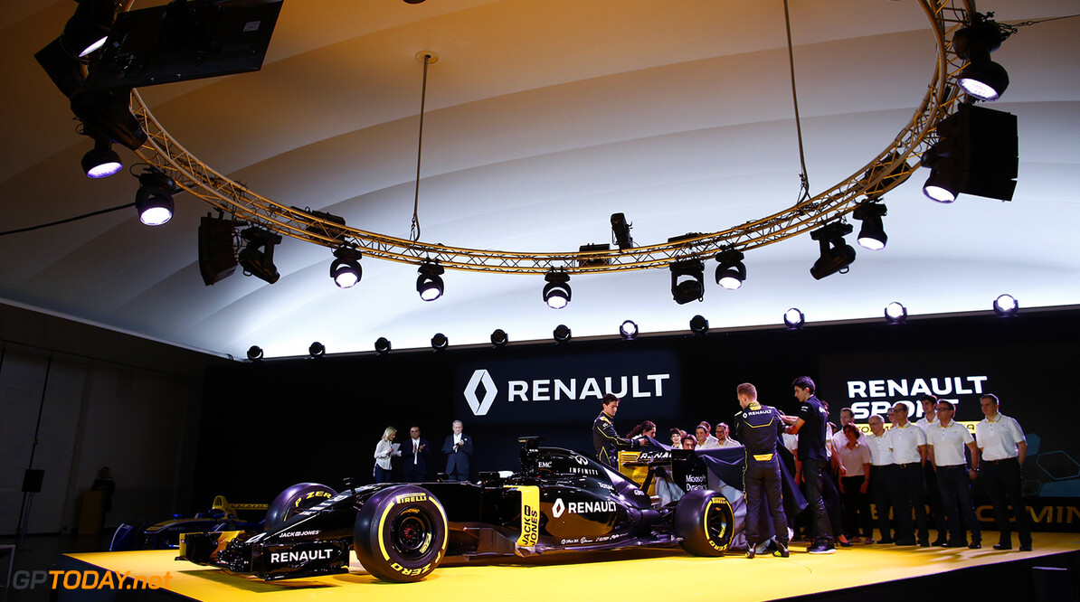 Renault F1 drivers PALMER Jolyon (gbr), MAGNUSSEN Kevin (dan) and OCON Esteban (fra) Renault F1 tests driver launching the Renault R.S16 during the Renault Sport F1 launch at Guyancourt Technocentre, France on february 3 2016 -  Photo Frederic Le Floc'h / DPPI AUTO - RENAULT SPORT F1 LAUNCH  - 2016 Frederic Le Floc'h Guyancourt France  rst guyancourt paris renault sport cars sports car fevrier F1 Formula one Formula 1 presentation lancement annonce annoucement
