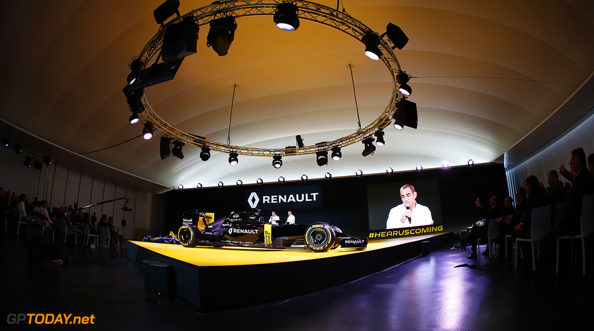 ABITEBOUL Cyril (fr) Renault Sport F1 managing director launching the Renault R.S16 ambiance portrait during the Renault Sport F1 launch at Guyancourt Technocentre, France on february 3 2016 -  Photo Frederic Le Floc'h / DPPI AUTO - RENAULT SPORT F1 LAUNCH  - 2016 Frederic Le Floc'h Guyancourt France  rst guyancourt paris renault sport cars sports car fevrier F1 Formula one Formula 1 presentation lancement annonce annoucement