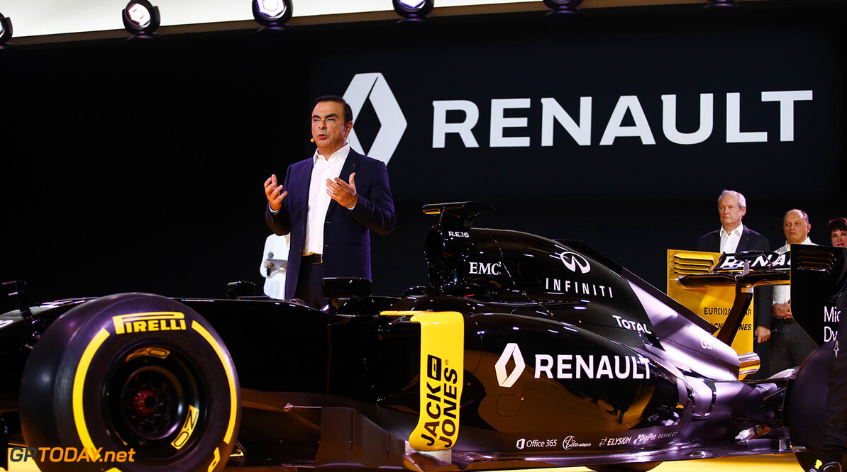 GHOSN Carlos Renault President launching the Renault R.S16 ambiance portrait during the Renault Sport F1 launch at Guyancourt Technocentre, France on february 3 2016 -  Photo Frederic Le Floc'h / DPPI AUTO - RENAULT SPORT F1 LAUNCH  - 2016 Frederic Le Floc'h Guyancourt France  rst guyancourt paris renault sport cars sports car fevrier F1 Formula one Formula 1 presentation lancement annonce annoucement