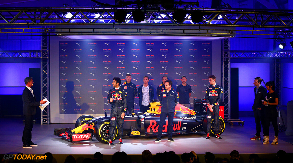 LONDON, ENGLAND - FEBRUARY 17:  David Coulthard speaks with Daniel Ricciardo of Australia and Red Bull Racing, Red Bull Racing Team Principal Christian Horner and Daniil Kvyat of Russia and Red Bull Racing on stage next to the RB11 featuring the 2016 livery during the launch event for PUMA and Red Bull Racing's 2016 Livery and Teamwear at Old Truman Brewery on February 17, 2016 in London, England.  (Photo by Clive Mason/Getty Images) // P-20160217-00336 // Usage for editorial use only // Please go to www.redbullcontentpool.com for further information. //  PUMA & Red Bull Racing Launch 2016 Livery & Teamwear Clive Mason London United Kingdom  P-20160217-00336
