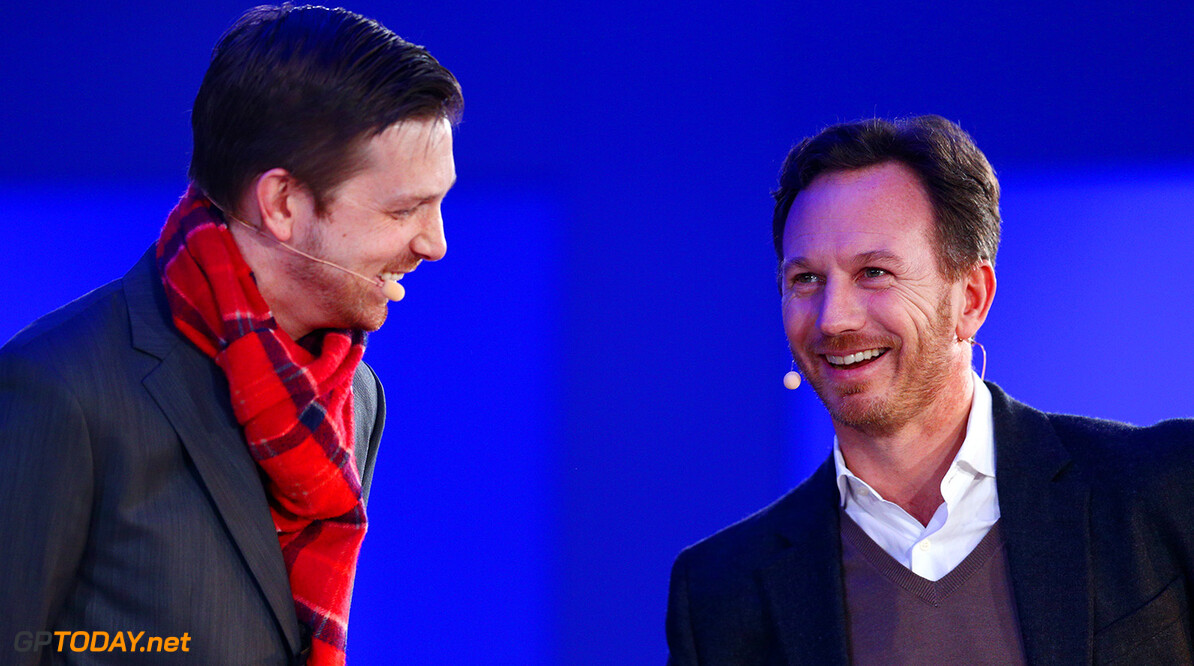 LONDON, ENGLAND - FEBRUARY 17:  Red Bull Racing Team Principal Christian Horner speaks with Adam Petrick, PUMA's Global Director of Brand & Marketing during the launch event for PUMA and Red Bull Racing's 2016 Livery and Teamwear at Old Truman Brewery on February 17, 2016 in London, England.  (Photo by Clive Mason/Getty Images) // P-20160217-00330 // Usage for editorial use only // Please go to www.redbullcontentpool.com for further information. //  PUMA & Red Bull Racing Launch 2016 Livery & Teamwear Clive Mason London United Kingdom  P-20160217-00330