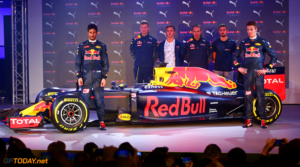 LONDON, ENGLAND - FEBRUARY 17:  Daniel Ricciardo of Australia and Red Bull Racing and Daniil Kvyat of Russia and Red Bull Racing pose on stage next to the RB11 featuring the 2016 livery during the launch event for PUMA and Red Bull Racing's 2016 Livery and Teamwear at Old Truman Brewery on February 17, 2016 in London, England.  (Photo by Clive Mason/Getty Images) // P-20160217-00340 // Usage for editorial use only // Please go to www.redbullcontentpool.com for further information. //  PUMA & Red Bull Racing Launch 2016 Livery & Teamwear Clive Mason London United Kingdom  P-20160217-00340