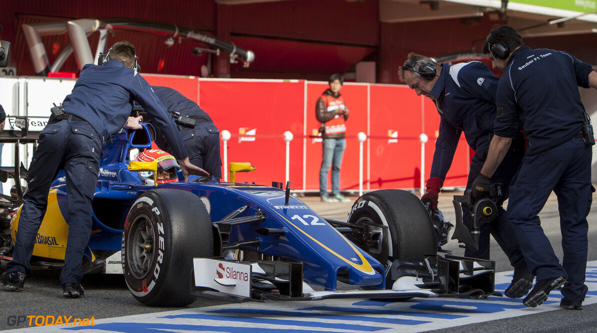 160224RF12693 BARCELONA, SPAIN - 24 FEBRUARY 2016: #12 Felipe Nasr (BRA), Sauber F1 Team, during day 1 of Formula 1's Pre-Season Test at Circuit de Barcelona-Catalunya. Formula 1's Pre-Season Test Ronald Fleurbaaij Barcelona Spain  Sport Sports Autosport Motorsports Auto Car Racewagen Race Car Formule 1 Formula 1 F1 FIA Formula One World Championship Spain Spanje Circuit de Barcelona-Catalunya Pre-Season Test