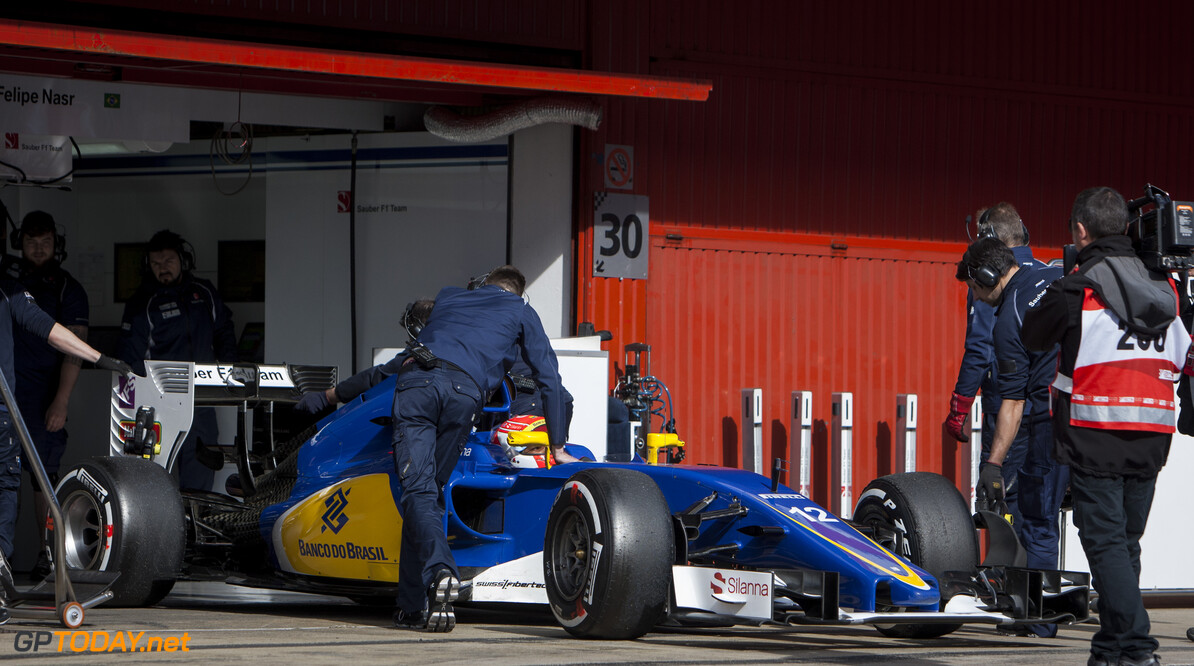 160224RF12695 BARCELONA, SPAIN - 24 FEBRUARY 2016: #12 Felipe Nasr (BRA), Sauber F1 Team, during day 1 of Formula 1's Pre-Season Test at Circuit de Barcelona-Catalunya. Formula 1's Pre-Season Test Ronald Fleurbaaij Barcelona Spain  Sport Sports Autosport Motorsports Auto Car Racewagen Race Car Formule 1 Formula 1 F1 FIA Formula One World Championship Spain Spanje Circuit de Barcelona-Catalunya Pre-Season Test