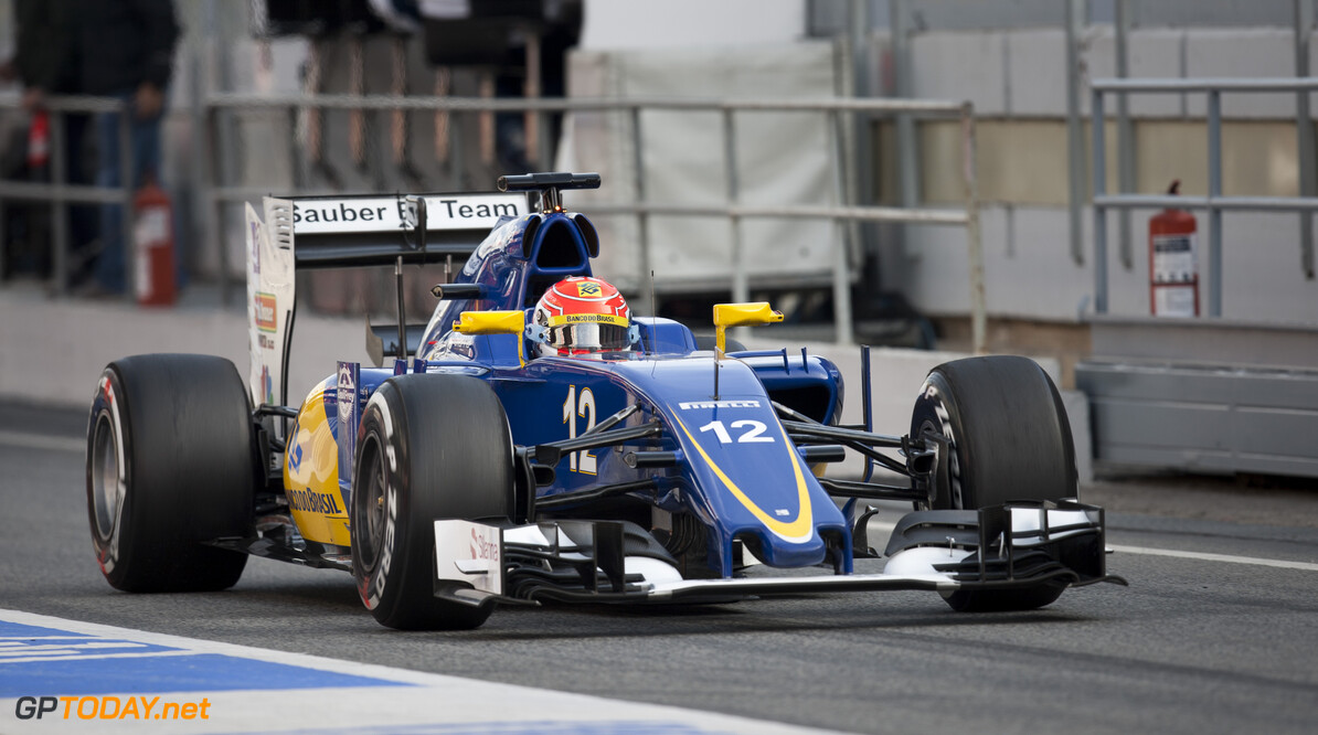160224RF22787 BARCELONA, SPAIN - 24 FEBRUARY 2016: #12 Felipe Nasr (BRA), Sauber F1 Team, during day 1 of Formula 1's Pre-Season Test at Circuit de Barcelona-Catalunya. Formula 1's Pre-Season Test Ronald Fleurbaaij Barcelona Spain  Sport Sports Autosport Motorsports Auto Car Racewagen Race Car Formule 1 Formula 1 F1 FIA Formula One World Championship Spain Spanje Circuit de Barcelona-Catalunya Pre-Season Test
