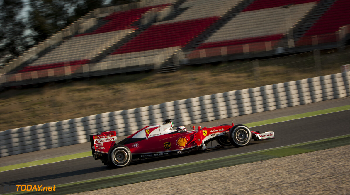 160224RF13062 BARCELONA, SPAIN - 24 FEBRUARY 2016: #7 Kimi Raikkonen (FIN), Scuderia Ferrari, during day 1 of Formula 1's Pre-Season Test at Circuit de Barcelona-Catalunya. Formula 1's Pre-Season Test Ronald Fleurbaaij Barcelona Spain  Sport Sports Autosport Motorsports Auto Car Racewagen Race Car Formule 1 Formula 1 F1 FIA Formula One World Championship Spain Spanje Circuit de Barcelona-Catalunya Pre-Season Test