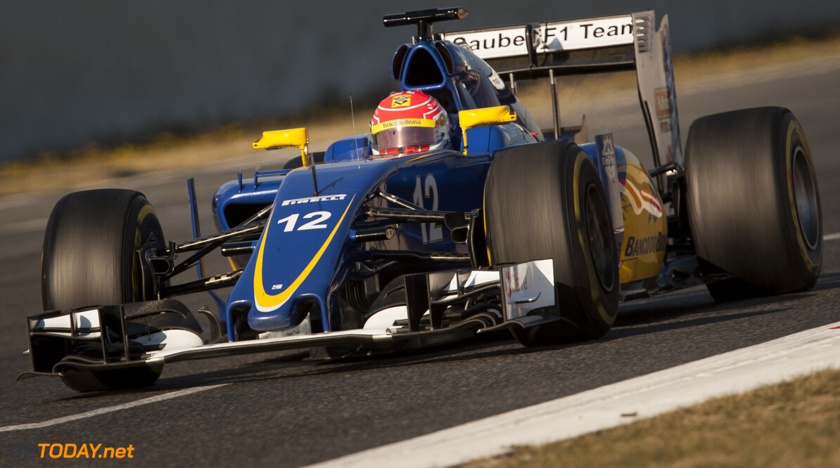 160224RF23523 BARCELONA, SPAIN - 24 FEBRUARY 2016: #12 Felipe Nasr (BRA), Sauber F1 Team, during day 1 of Formula 1's Pre-Season Test at Circuit de Barcelona-Catalunya. Formula 1's Pre-Season Test Ronald Fleurbaaij Barcelona Spain  Sport Sports Autosport Motorsports Auto Car Racewagen Race Car Formule 1 Formula 1 F1 FIA Formula One World Championship Spain Spanje Circuit de Barcelona-Catalunya Pre-Season Test