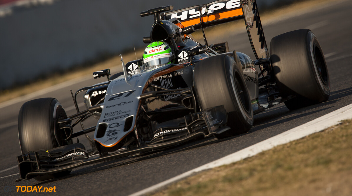 160224RF23562 BARCELONA, SPAIN - 24 FEBRUARY 2016: #27 Nico Hulkenberg (DEU), Sahara Force India F1 Team, during day 1 of Formula 1's Pre-Season Test at Circuit de Barcelona-Catalunya. Formula 1's Pre-Season Test Ronald Fleurbaaij Barcelona Spain  Sport Sports Autosport Motorsports Auto Car Racewagen Race Car Formule 1 Formula 1 F1 FIA Formula One World Championship Spain Spanje Circuit de Barcelona-Catalunya Pre-Season Test