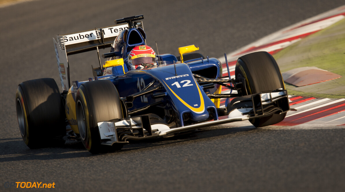 160224RF23724 BARCELONA, SPAIN - 24 FEBRUARY 2016: #12 Felipe Nasr (BRA), Sauber F1 Team, during day 1 of Formula 1's Pre-Season Test at Circuit de Barcelona-Catalunya. Formula 1's Pre-Season Test Ronald Fleurbaaij Barcelona Spain  Sport Sports Autosport Motorsports Auto Car Racewagen Race Car Formule 1 Formula 1 F1 FIA Formula One World Championship Spain Spanje Circuit de Barcelona-Catalunya Pre-Season Test