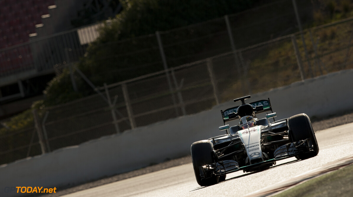 160224RF23491 BARCELONA, SPAIN - 24 FEBRUARY 2016: #44 Lewis Hamilton (GBR), Mercedes AMG Petronas F1 Team, during day 1 of Formula 1's Pre-Season Test at Circuit de Barcelona-Catalunya. Formula 1's Pre-Season Test Ronald Fleurbaaij Barcelona Spain  Sport Sports Autosport Motorsports Auto Car Racewagen Race Car Formule 1 Formula 1 F1 FIA Formula One World Championship Spain Spanje Circuit de Barcelona-Catalunya Pre-Season Test