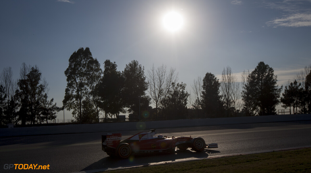 160224RF13007 BARCELONA, SPAIN - 24 FEBRUARY 2016: #7 Kimi Raikkonen (FIN), Scuderia Ferrari, during day 1 of Formula 1's Pre-Season Test at Circuit de Barcelona-Catalunya. Formula 1's Pre-Season Test Ronald Fleurbaaij Barcelona Spain  Sport Sports Autosport Motorsports Auto Car Racewagen Race Car Formule 1 Formula 1 F1 FIA Formula One World Championship Spain Spanje Circuit de Barcelona-Catalunya Pre-Season Test