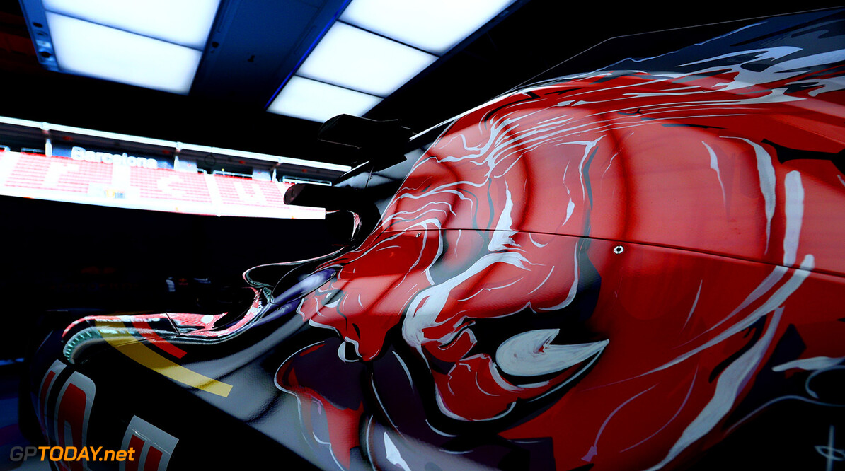 MONTMELO, SPAIN - FEBRUARY 29:  The new Scuderia Toro Rosso STR11 in the team garage ahead of the launch at Circuit de Catalunya on February 29, 2016 in Montmelo, Spain.  (Photo by Dan Istitene/Getty Images) // P-20160229-00555 // Usage for editorial use only // Please go to www.redbullcontentpool.com for further information. //  Scuderia Toro Rosso STR11 Launch Dan Istitene  Spain  P-20160229-00555