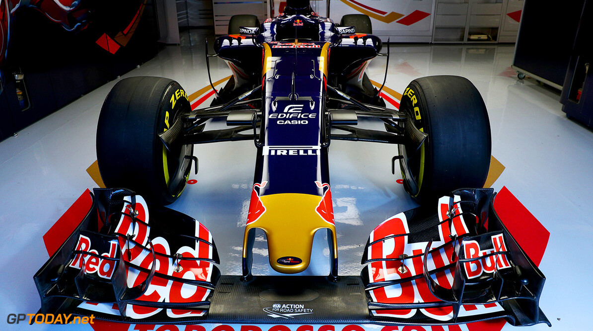 MONTMELO, SPAIN - FEBRUARY 29:  The new Scuderia Toro Rosso STR11 in the team garage ahead of the launch at Circuit de Catalunya on February 29, 2016 in Montmelo, Spain.  (Photo by Dan Istitene/Getty Images) // P-20160229-00571 // Usage for editorial use only // Please go to www.redbullcontentpool.com for further information. //  Scuderia Toro Rosso STR11 Launch Dan Istitene  Spain  P-20160229-00571