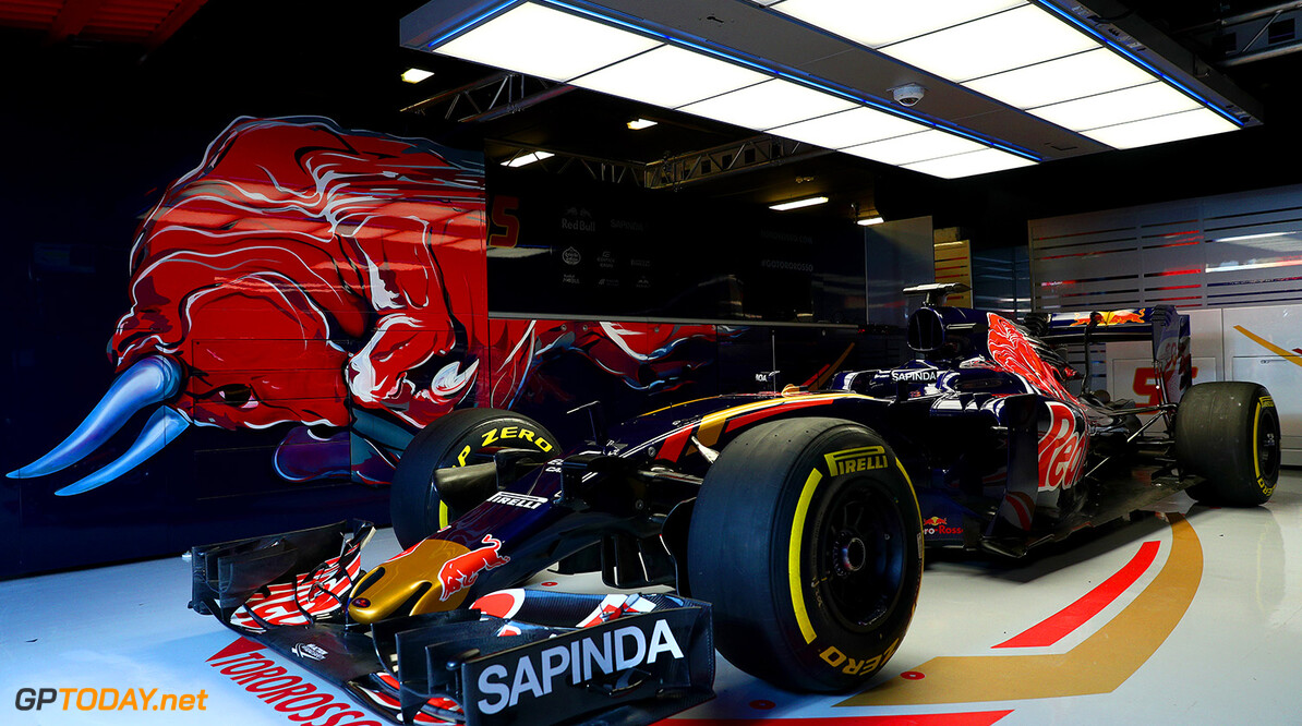 MONTMELO, SPAIN - FEBRUARY 29:  The new Scuderia Toro Rosso STR11 in the team garage ahead of the launch at Circuit de Catalunya on February 29, 2016 in Montmelo, Spain.  (Photo by Dan Istitene/Getty Images) // P-20160229-00568 // Usage for editorial use only // Please go to www.redbullcontentpool.com for further information. //  Scuderia Toro Rosso STR11 Launch Dan Istitene  Spain  P-20160229-00568