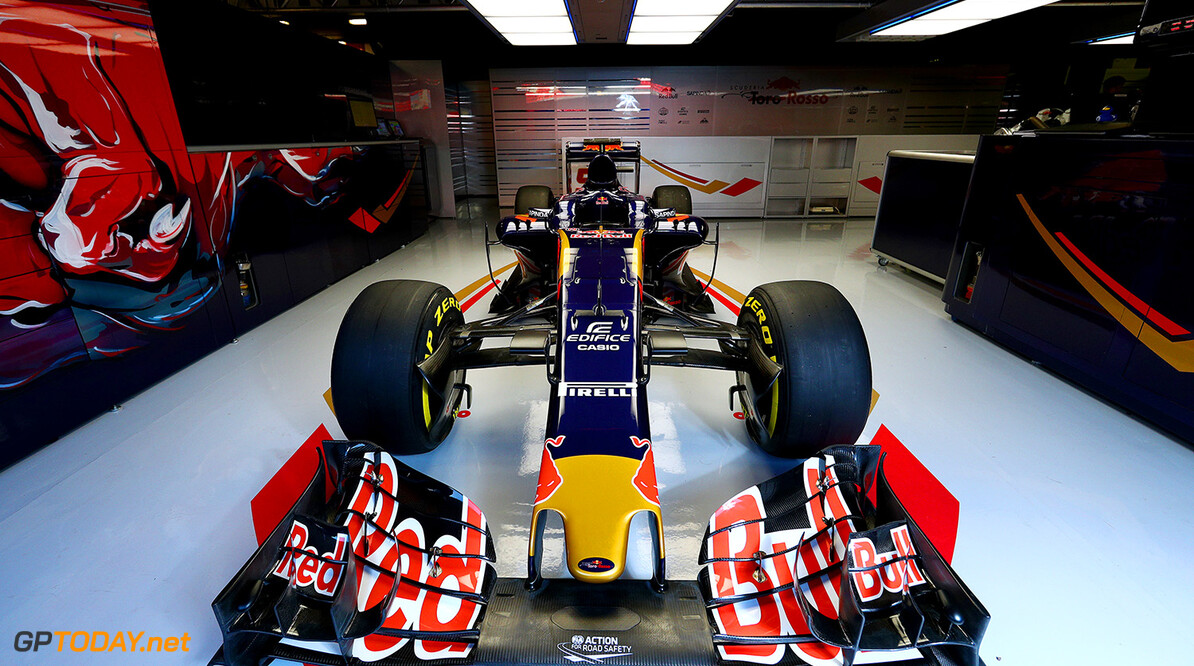 MONTMELO, SPAIN - FEBRUARY 29:  The new Scuderia Toro Rosso STR11 in the team garage ahead of the launch at Circuit de Catalunya on February 29, 2016 in Montmelo, Spain.  (Photo by Dan Istitene/Getty Images) // P-20160229-00566 // Usage for editorial use only // Please go to www.redbullcontentpool.com for further information. //  Scuderia Toro Rosso STR11 Launch Dan Istitene  Spain  P-20160229-00566
