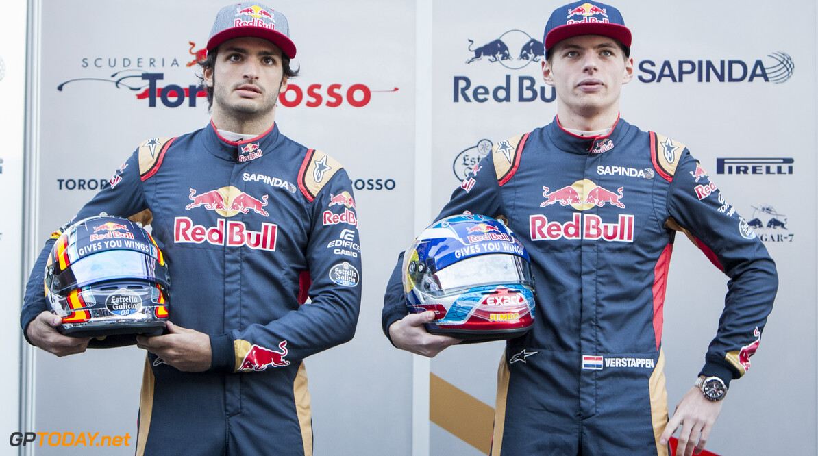 160301RF13427 BARCELONA, SPAIN - 1 MARCH 2016: #55 Carlos Sainz Jr (ESP) (L) and #33 Max Verstappen (NLD) (R) during the Scuderia Toro Rosso team presentation at Formula 1's Pre-Season Test at Circuit de Barcelona-Catalunya. Formula 1's Pre-Season Test Ronald Fleurbaaij Barcelona Spain  Sport Sports Autosport Motorsports Auto Car Racewagen Race Car Formule 1 Formula 1 F1 FIA Formula One World Championship Spain Spanje Circuit de Barcelona-Catalunya Pre-Season Test