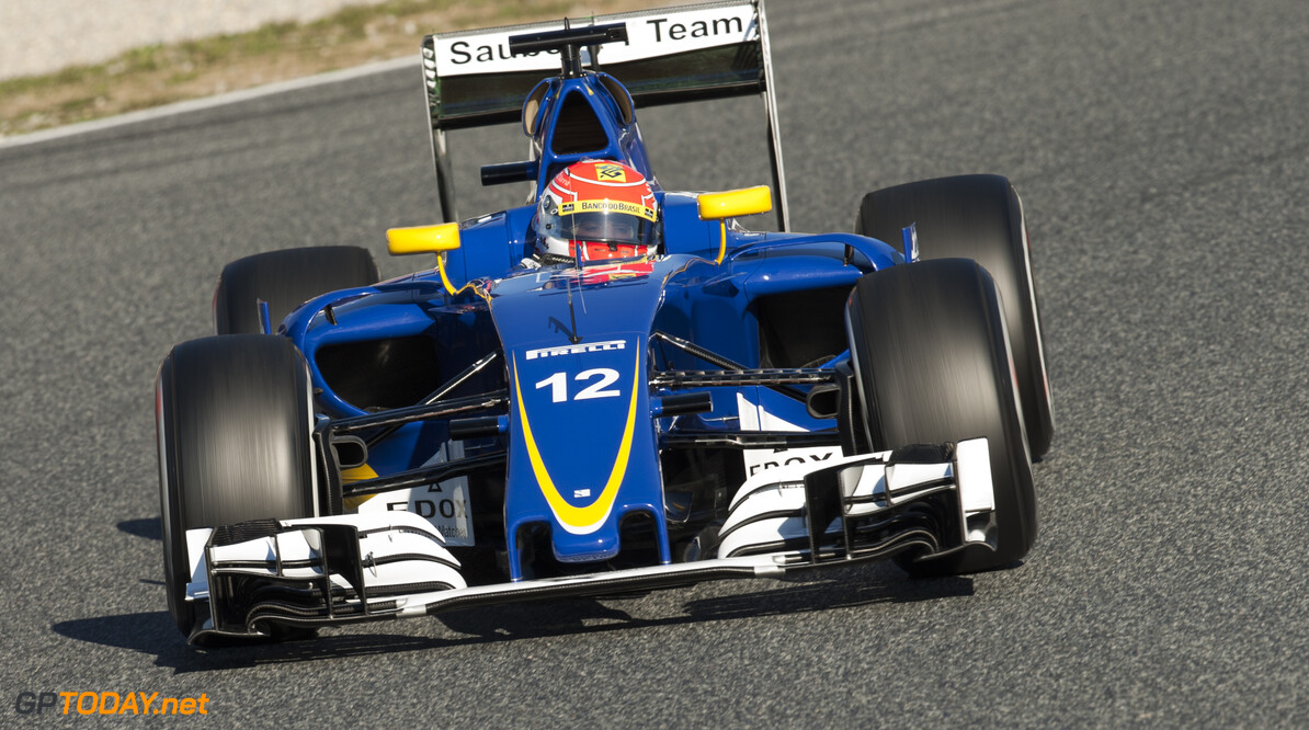 160301RF25037 BARCELONA, SPAIN - 1 MARCH 2016: #12 Felipe Nasr (BRA), Sauber F1 Team, during day 5 of Formula 1's Pre-Season Test at Circuit de Barcelona-Catalunya. Formula 1's Pre-Season Test Ronald Fleurbaaij Barcelona Spain  Sport Sports Autosport Motorsports Auto Car Racewagen Race Car Formule 1 Formula 1 F1 FIA Formula One World Championship Spain Spanje Circuit de Barcelona-Catalunya Pre-Season Test
