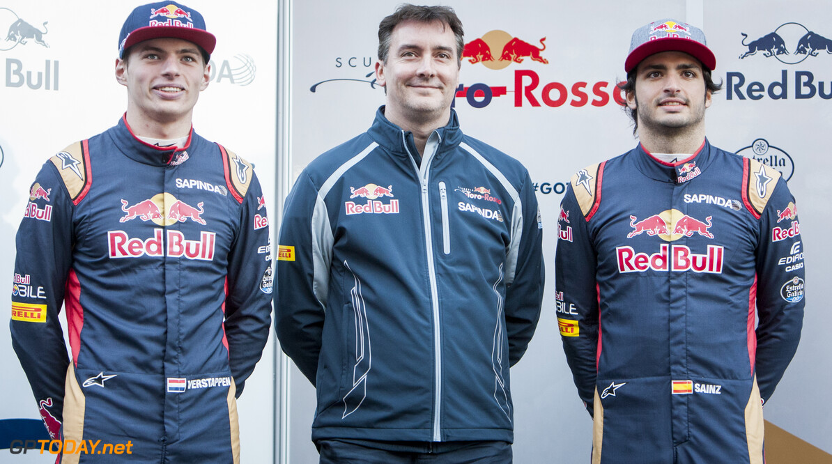 160301RF13472 BARCELONA, SPAIN - 1 MARCH 2016: #33 Max Verstappen (NLD) (L), Scuderia Toro Rosso Technical Director James Key (C) and #55 Carlos Sainz Jr (ESP) (R) during the Scuderia Toro Rosso team presentation at Formula 1's Pre-Season Test at Circuit de Barcelona-Catalunya. Formula 1's Pre-Season Test Ronald Fleurbaaij Barcelona Spain  Sport Sports Autosport Motorsports Auto Car Racewagen Race Car Formule 1 Formula 1 F1 FIA Formula One World Championship Spain Spanje Circuit de Barcelona-Catalunya Pre-Season Test