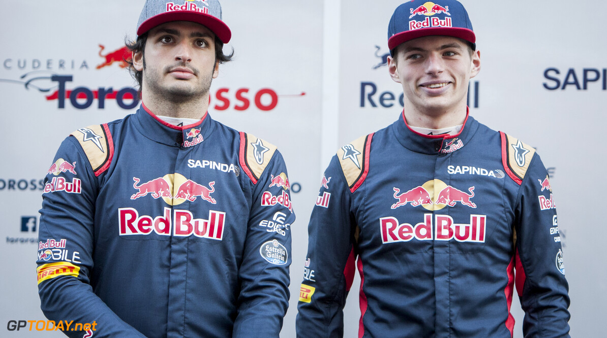 160301RF13403 BARCELONA, SPAIN - 1 MARCH 2016: #55 Carlos Sainz Jr (ESP) (L) and #33 Max Verstappen (NLD) (R) during the Scuderia Toro Rosso team presentation at Formula 1's Pre-Season Test at Circuit de Barcelona-Catalunya. Formula 1's Pre-Season Test Ronald Fleurbaaij Barcelona Spain  Sport Sports Autosport Motorsports Auto Car Racewagen Race Car Formule 1 Formula 1 F1 FIA Formula One World Championship Spain Spanje Circuit de Barcelona-Catalunya Pre-Season Test