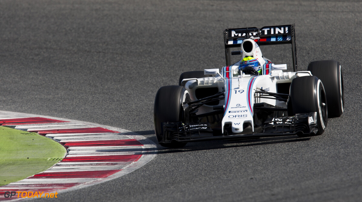 160303RF26927 BARCELONA, SPAIN - 3 MARCH 2016: #19 Felipe Massa (BRA), Williams Martini Racing, during day 7 of Formula 1's Pre-Season Test at Circuit de Barcelona-Catalunya. Formula 1's Pre-Season Test Ronald Fleurbaaij Barcelona Spain  Sport Sports Autosport Motorsports Auto Car Racewagen Race Car Formule 1 Formula 1 F1 FIA Formula One World Championship Spain Spanje Circuit de Barcelona-Catalunya Pre-Season Test