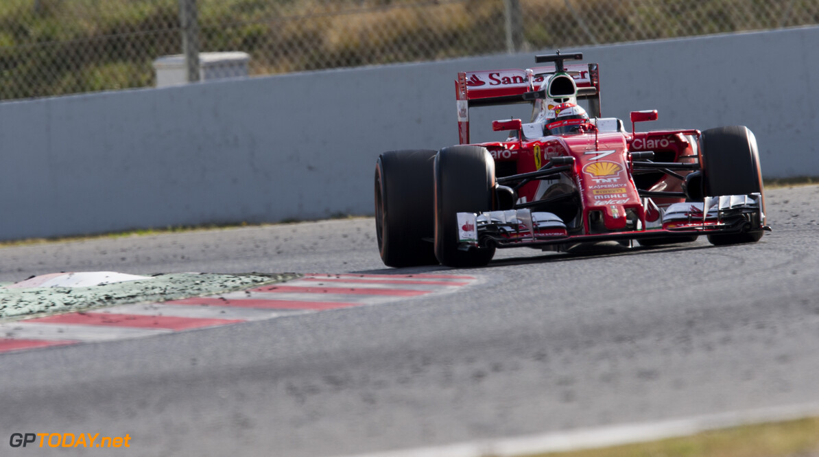 160303RF27133 BARCELONA, SPAIN - 3 MARCH 2016: #7 Kimi Raikkonen (FIN), Scuderia Ferrari, during day 7 of Formula 1's Pre-Season Test at Circuit de Barcelona-Catalunya. Formula 1's Pre-Season Test Ronald Fleurbaaij Barcelona Spain  Sport Sports Autosport Motorsports Auto Car Racewagen Race Car Formule 1 Formula 1 F1 FIA Formula One World Championship Spain Spanje Circuit de Barcelona-Catalunya Pre-Season Test