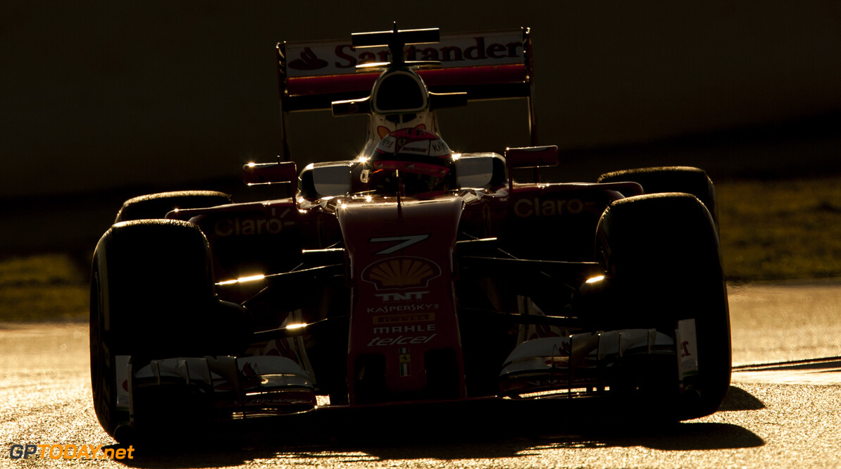 160303RF27448 BARCELONA, SPAIN - 3 MARCH 2016: #7 Kimi Raikkonen (FIN), Scuderia Ferrari, during day 7 of Formula 1's Pre-Season Test at Circuit de Barcelona-Catalunya. Formula 1's Pre-Season Test Ronald Fleurbaaij Barcelona Spain  Sport Sports Autosport Motorsports Auto Car Racewagen Race Car Formule 1 Formula 1 F1 FIA Formula One World Championship Spain Spanje Circuit de Barcelona-Catalunya Pre-Season Test
