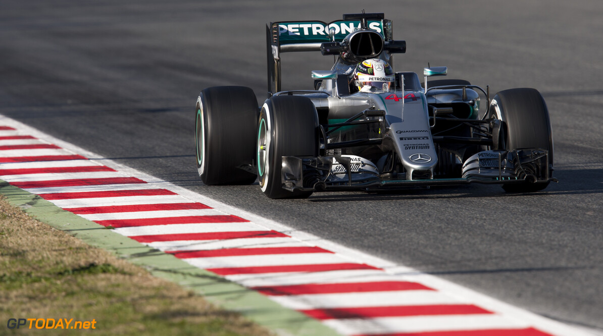 160304RF28101 BARCELONA, SPAIN - 4 MARCH 2016: #44 Lewis Hamilton (GBR), Mercedes AMG Petronas F1 Team, during day 8 of Formula 1's Pre-Season Test at Circuit de Barcelona-Catalunya. Formula 1's Pre-Season Test Ronald Fleurbaaij Barcelona Spain  Sport Sports Autosport Motorsports Auto Car Racewagen Race Car Formule 1 Formula 1 F1 FIA Formula One World Championship Spain Spanje Circuit de Barcelona-Catalunya Pre-Season Test