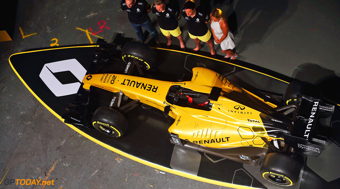 Formula One World Championship (L to R): Cyril Abiteboul (FRA) Renault Sport F1 Managing Director; Kevin Magnussen (DEN) Renault Sport F1 Team; Jolyon Palmer (GBR) Renault Sport F1 Team; and Ellie Jean Coffey (AUS) Pro Surfer at the Renault Sport F1 Team RS16 livery reveal.