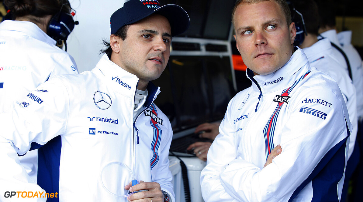 Albert Park, Melbourne, Australia. Friday 18 March 2016. Felipe Massa, Williams Martini Racing, with Valtteri Bottas, Williams Martini Racing. Photo: Glenn Dunbar/Williams F1 ref: Digital Image _W2Q1758      Portrait