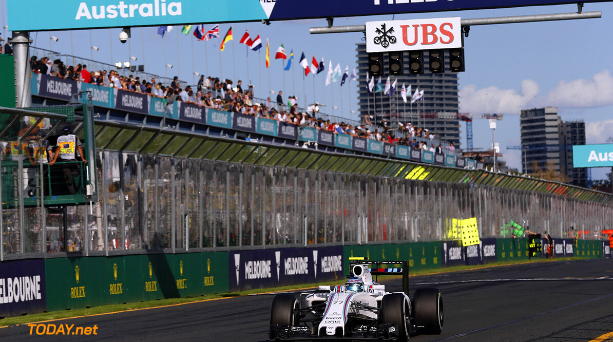 Albert Park, Melbourne, Australia. Sunday 20 March 2016. Valtteri Bottas, Williams FW38 Mercedes. Photo: Glenn Dunbar/Williams F1 ref: Digital Image _89P5389      f1 formula 1 formula one aus oz gp grand prix Action