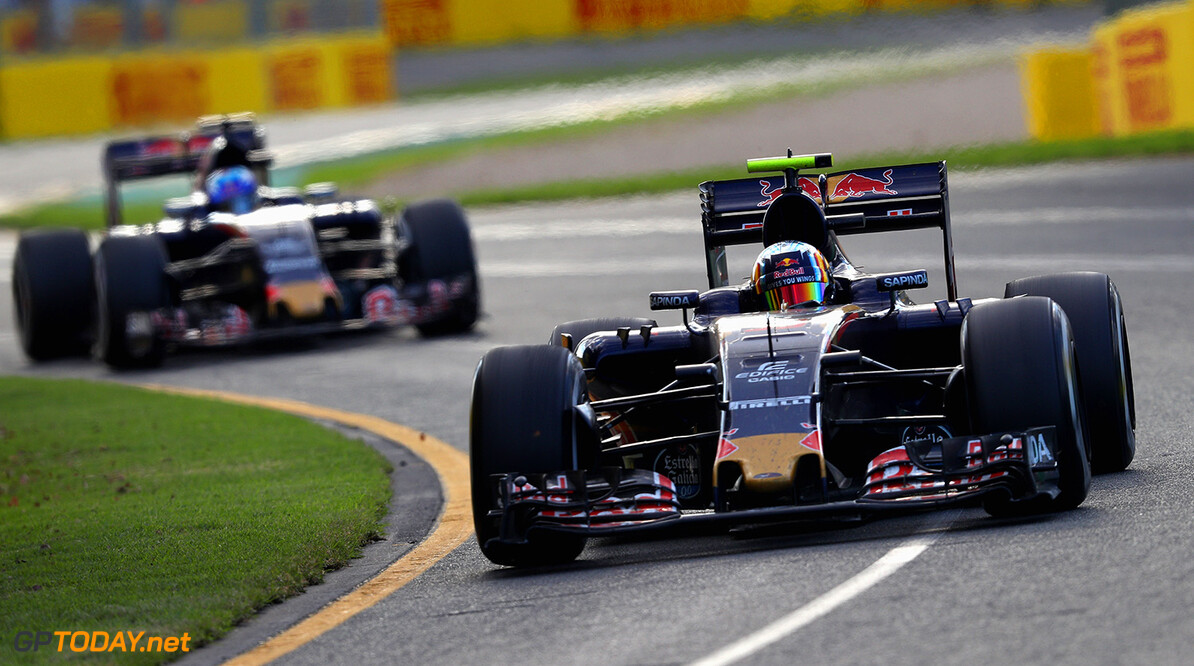 MELBOURNE, AUSTRALIA - MARCH 20: Carlos Sainz of Spain drives the (55) Scuderia Toro Rosso STR11 Ferrari 059/5 turbo on track ahead of Max Verstappen of the Netherlands drives the (33) Scuderia Toro Rosso STR11 Ferrari 059/5 turbo during the Australian Formula One Grand Prix at Albert Park on March 20, 2016 in Melbourne, Australia.  (Photo by Clive Mason/Getty Images) // Getty Images / Red Bull Content Pool  // P-20160320-00225 // Usage for editorial use only // Please go to www.redbullcontentpool.com for further information. //  Australian F1 Grand Prix Clive Mason Melbourne Australia  P-20160320-00225