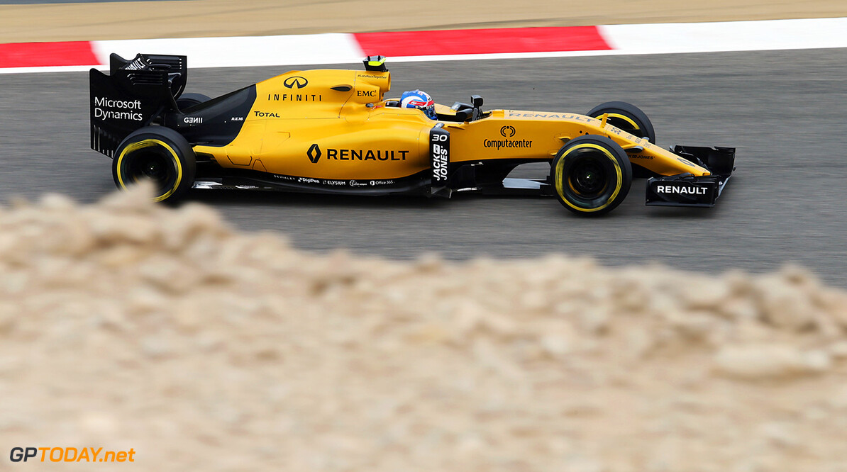 Formula One World Championship Jolyon Palmer (GBR) Renault Sport F1 Team RS16. Bahrain Grand Prix, Friday 1st April 2016. Sakhir, Bahrain. Motor Racing - Formula One World Championship - Bahrain Grand Prix - Practice Day - Sakhir, Bahrain Renault Sport Formula One Team Sakhir Bahrain  Formula One Formula 1 F1 GP Grand Prix Bahrain International Circuit BIC Bahrain Mamana Sakhir JM546 Action Track moyf12016 GP1602b