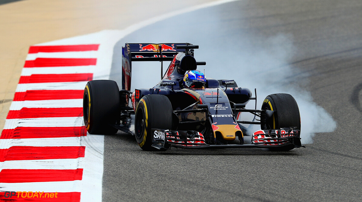 SAKHIR, BAHRAIN - APRIL 01: Max Verstappen of the Netherlands drives the (33) Scuderia Toro Rosso STR11 Ferrari 059/5 turbo locks a wheel on track during practice for the Bahrain Formula One Grand Prix at Bahrain International Circuit on April 1, 2016 in Sakhir, Bahrain.  (Photo by Clive Mason/Getty Images) // Getty Images / Red Bull Content Pool  // P-20160401-00617 // Usage for editorial use only // Please go to www.redbullcontentpool.com for further information. //  F1 Grand Prix of Bahrain - Practice Clive Mason As Sakhir Bahrain  P-20160401-00617
