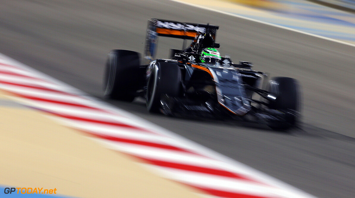 Formula One World Championship Nico Hulkenberg (GER) Sahara Force India F1 VJM09. Bahrain Grand Prix, Friday 1st April 2016. Sakhir, Bahrain. Motor Racing - Formula One World Championship - Bahrain Grand Prix - Practice Day - Sakhir, Bahrain James Moy Photography Sakhir Bahrain  Formula One Formula 1 F1 GP Grand Prix Bahrain International Circuit BIC Bahrain Mamana Sakhir JM546 Hulkenberg H?lkenberg Huelkenberg Action Track GP1602b