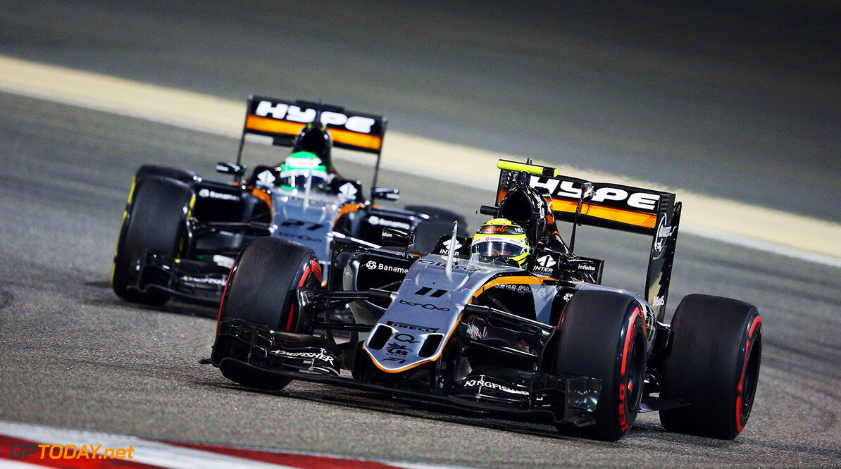 Formula One World Championship Sergio Perez (MEX) Sahara Force India F1 VJM09 leads team mate Nico Hulkenberg (GER) Sahara Force India F1 VJM09. Bahrain Grand Prix, Sunday 3rd April 2016. Sakhir, Bahrain. Motor Racing - Formula One World Championship - Bahrain Grand Prix - Race Day - Sakhir, Bahrain James Moy Photography Sakhir Bahrain  Formula One Formula 1 F1 GP Grand Prix BIC Bahrain Mamana Sakhir Bahrain International Circuit JM548 Hulkenberg H?lkenberg Huelkenberg Sergio P?rez Sergio P?rez Mendoza Checo Perez Checo P?rez Action Track GP1602d