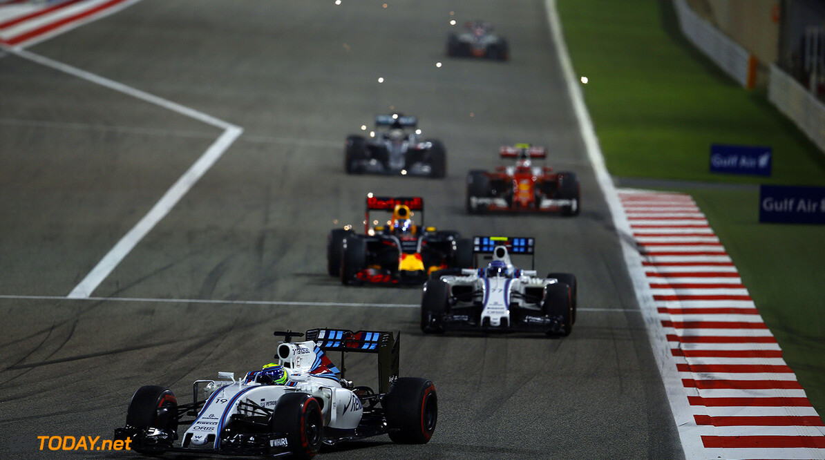 Bahrain International Circuit, Sakhir, Bahrain. Sunday 3 April 2016. Felipe Massa, Williams FW38 Mercedes leads Valtteri Bottas, Williams FW38 Mercedes. Photo: Andrew Hone/Williams F1 ref: Digital Image _ONZ2200      f1 formula 1 formula one bahraini bah gp grand prix action