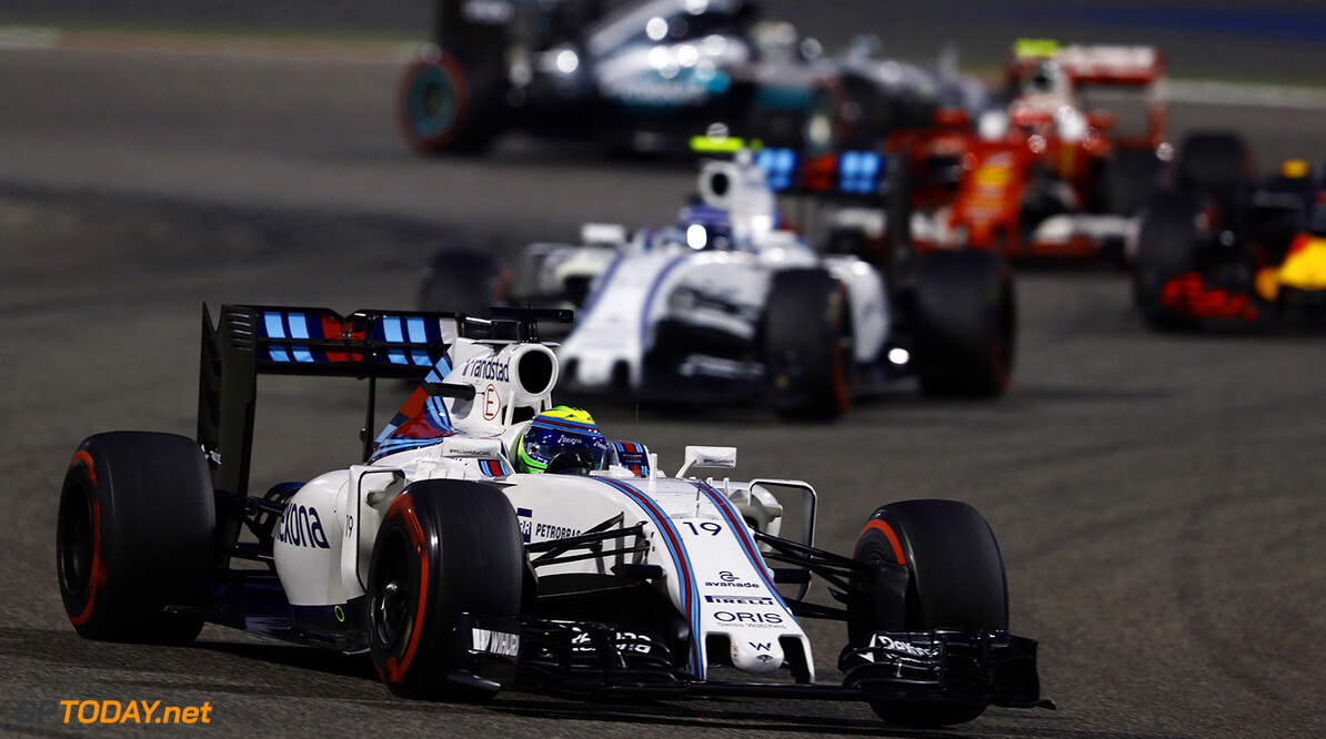 Bahrain International Circuit, Sakhir, Bahrain. Sunday 3 April 2016. Felipe Massa, Williams FW38 Mercedes leads Valtteri Bottas, Williams FW38 Mercedes. Photo: Steven Tee/Williams F1 ref: Digital Image _H7I1420      f1 formula 1 formula one bahraini bah gp grand prix action