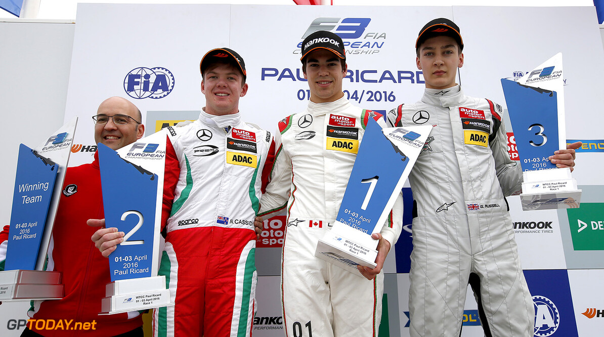 FIA Formula 3 European Championship, round 1, race 1, Paul Ricar Prize giving ceremony, 12 George Russell (GBR, HitechGP, Dallara F312 - Mercedes-Benz), 1 Lance Stroll (CAN, Prema Powerteam, Dallara F312 - Mercedes-Benz), 2 Nick Cassidy (NZL, Prema Powerteam, Dallara F312 - Mercedes-Benz), FIA Formula 3 European Championship, round 1, race 1, Paul Ricard (FRA), 01. - 03. April 2016 FIA Formula 3 European Championship 2016, round 1, race 1, Paul Ricard (FRA) Thomas Suer Le Castelet France