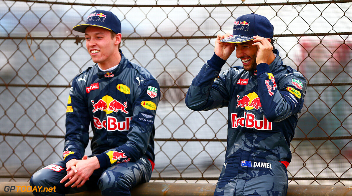 SHANGHAI, CHINA - APRIL 14: Daniel Ricciardo of Australia and Red Bull Racing and Daniil Kvyat of Russia and Red Bull Racing share a joke on a trackside barrier during previews to the Formula One Grand Prix of China at Shanghai International Circuit on April 14, 2016 in Shanghai, China.  (Photo by Dan Istitene/Getty Images) // Getty Images / Red Bull Content Pool  // P-20160414-00220 // Usage for editorial use only // Please go to www.redbullcontentpool.com for further information. //  F1 Grand Prix of China - Previews Dan Istitene Shanghai China  P-20160414-00220